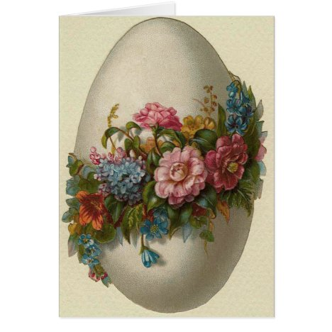 Vintage Easter Egg With Flowers Easter Card