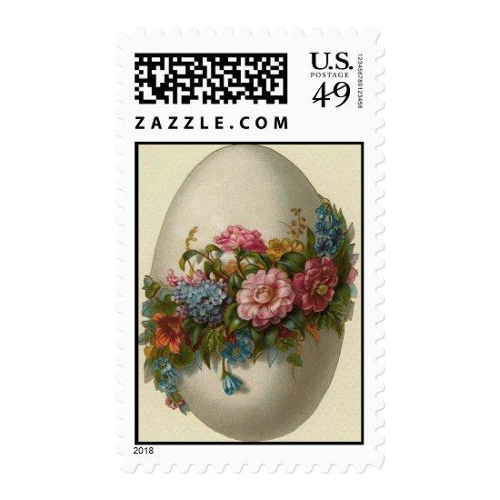 Vintage Easter Egg With Flowers Easter Card Postage