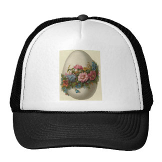 Vintage Easter Egg With Flowers Easter Card Trucker Hat