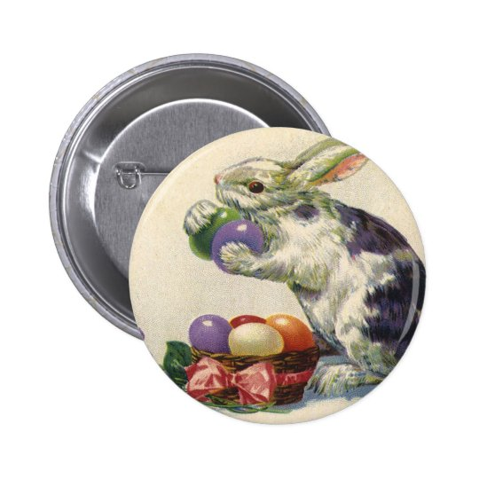 Vintage Easter Eggs and Victorian Easter Bunny Pinback Button