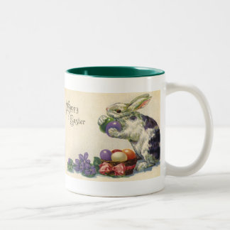 Vintage Easter Eggs and Victorian Easter Bunny Two-Tone Coffee Mug