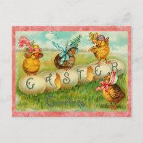 Vintage Easter Eggs Holiday Postcard