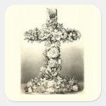 Vintage Easter Floral Christian Cross 1869 Square Sticker