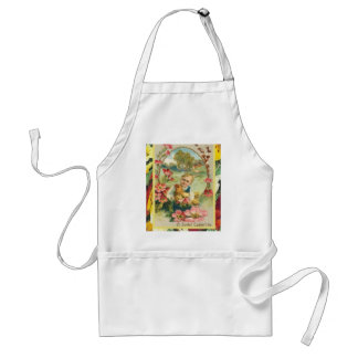 Vintage Easter, Flowers and a hen Adult Apron