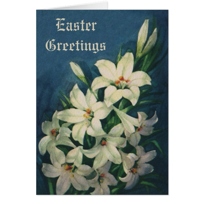 Vintage Easter Flowers, White Victorian Lilies Card