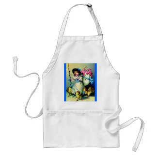 Vintage Easter Girl and Baby Chicks Apron