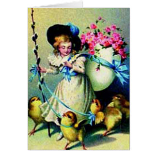 Vintage Easter Girl and Baby Chicks Card