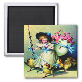 Vintage Easter Girl and Baby Chicks Magnet