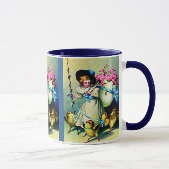 Vintage Easter Girl and Baby Chicks Mug