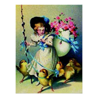 Vintage Easter Girl and Baby Chicks Poster