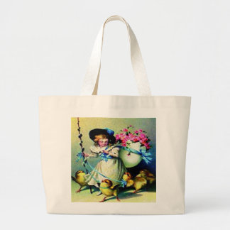 Vintage Easter Girl and Baby Chicks Tote Bags