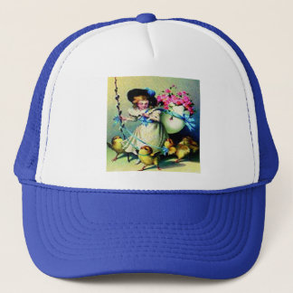 Vintage Easter Girl and Baby Chicks Trucker Hat