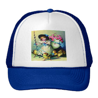 Vintage Easter Girl and Baby Chicks Trucker Hats