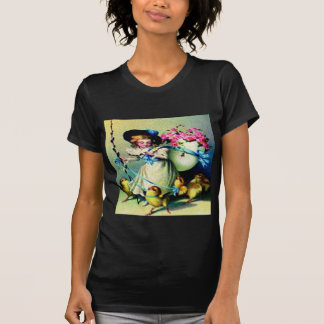 Vintage Easter Girl and Baby Chicks Tshirts