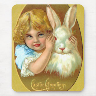 Vintage Easter Girl and Bunny Mouse Pad