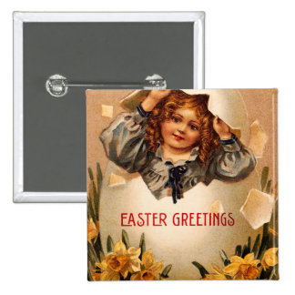 Vintage Easter Girl and Egg Button