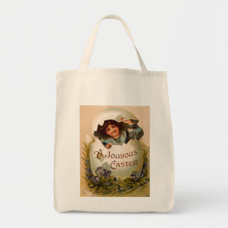 Vintage Easter Girl and Egg Tote Canvas Bags
