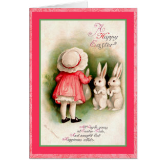 Vintage Easter Girl and White Bunnies Card