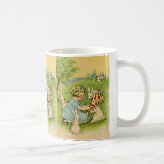 Vintage Easter, Girl Bonnet on Bunny Rabbit Classic White Coffee Mug