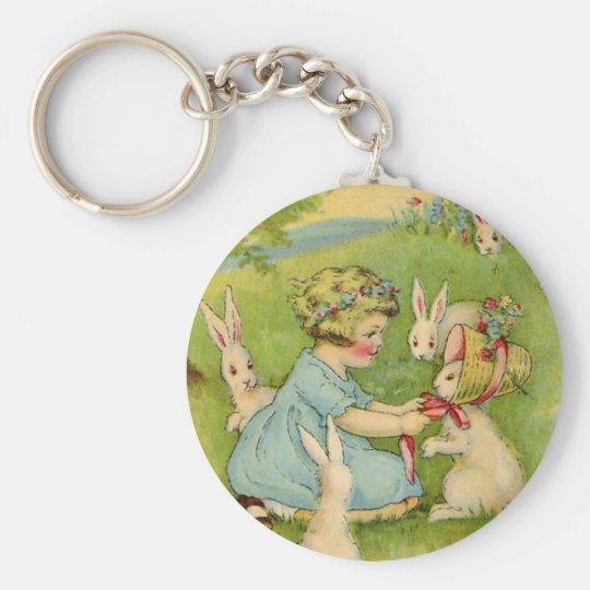 Vintage Easter, Girl Bonnet on Bunny Rabbit Keychain