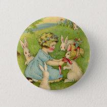 Vintage Easter, Girl Bonnet on Bunny Rabbit Pinback Button