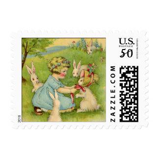 Vintage Easter, Girl Bonnet on Bunny Rabbit Postage
