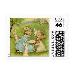 Vintage Easter, Girl Bonnet on Bunny Rabbit Postage Stamps