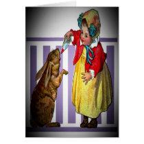 Vintage Easter Girl Feeding Rabbit Card
