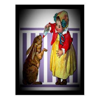 Vintage Easter Girl Feeding Rabbit Postcard
