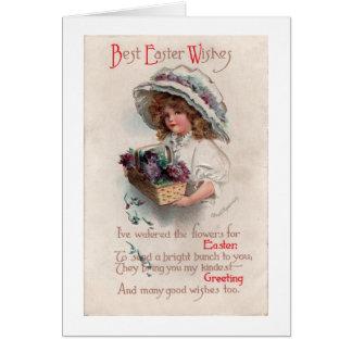 Vintage Easter Girl in Bonnet Greeting Card