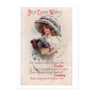 Vintage Easter Girl in Bonnet Postcard