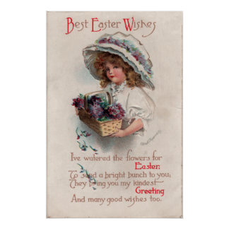 Vintage Easter Girl in Bonnet Poster