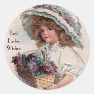Vintage Easter Girl in Bonnet Stickers
