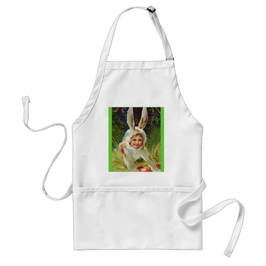Vintage Easter Girl in Bunny Costume Adult Apron