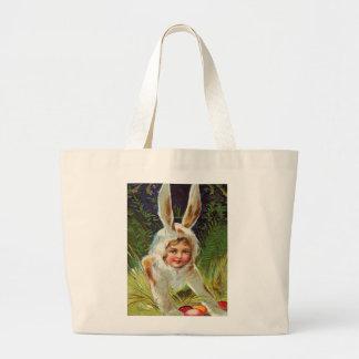 Vintage Easter Girl in Bunny Costume Large Tote Bag
