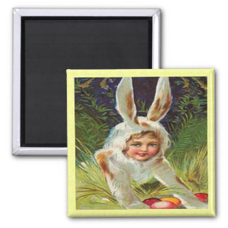 Vintage Easter Girl in Bunny Costume Magnet