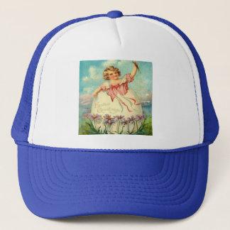 Vintage Easter Girl in Egg Trucker Hat