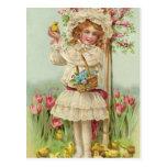 Vintage Easter Girl Post Card