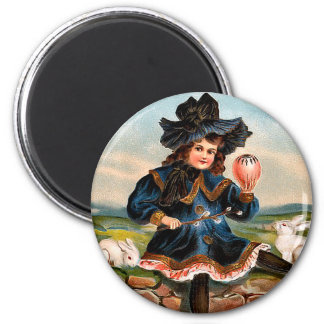 Vintage Easter Girl Round Magnet 2 Inch Round Magnet