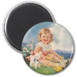 Vintage Easter, Girl with Chicks Lamb in Meadow 2 Inch Round Magnet