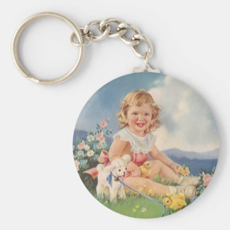 Vintage Easter, Girl with Chicks Lamb in Meadow Keychain