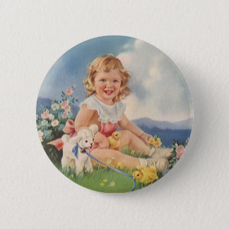 Vintage Easter, Girl with Chicks Lamb in Meadow Pinback Button