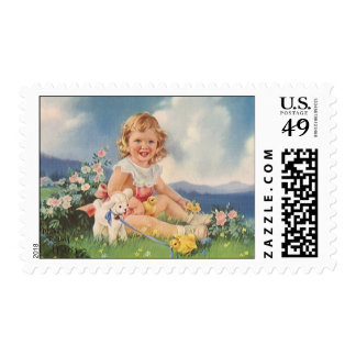 Vintage Easter, Girl with Chicks Lamb in Meadow Postage