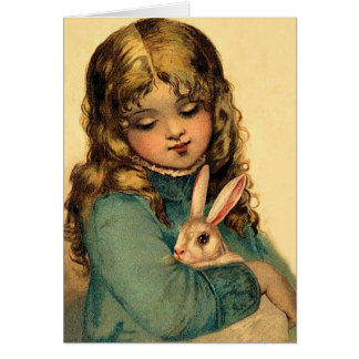 Vintage Easter Girl with Rabbit Card