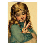 Vintage Easter Girl with Rabbit Greeting Card