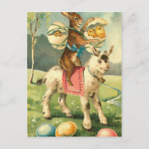 Vintage Easter Goat, Rabbit, and Chicks Holiday Postcard