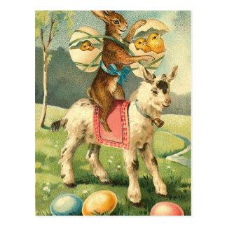 Vintage Easter Goat, Rabbit, and Chicks Postcard