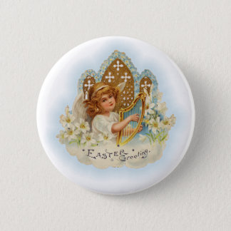 Vintage Easter Greetings Angel Pinback Button
