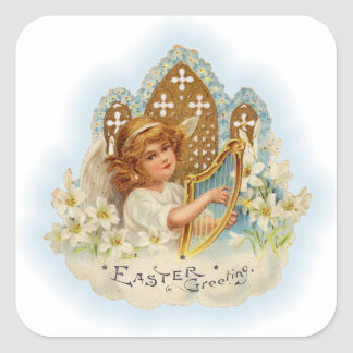 Vintage Easter Greetings Angel Square Sticker