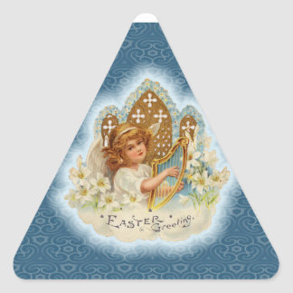 Vintage Easter Greetings Angel Triangle Sticker